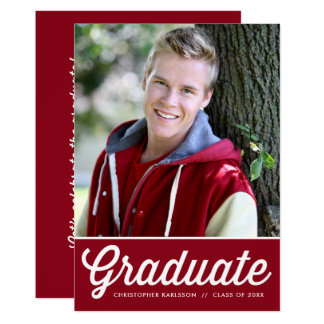 Red Retro Typography Photo Graduation Party Card