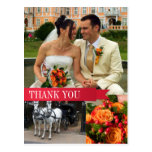 Red ribbon 3 photo montage wedding thank you note