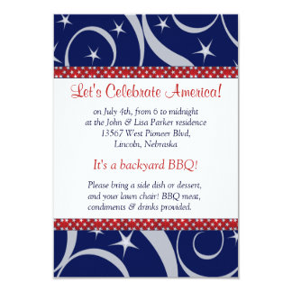 Red Ribbon and Stars July 4 Party Invitation