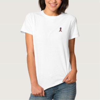 Red Ribbon Awareness Embroidered Shirt
