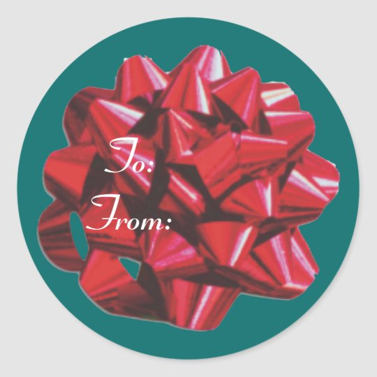 Red Ribbon Bow Classic Round Sticker