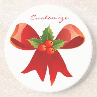 Red Ribbon Bow Holly Thunder_Cove Coaster