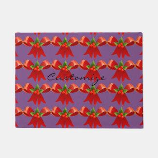 Red Ribbon Bow Holly Thunder_Cove Doormat