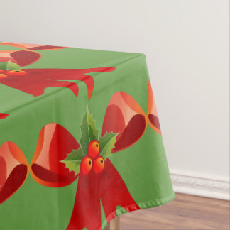 Red Ribbon Bow Holly Thunder_Cove Tablecloth