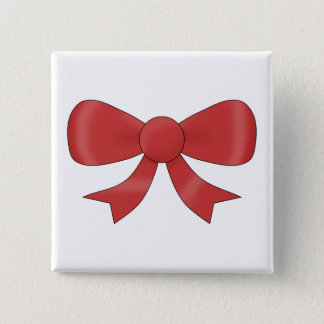 Red Ribbon Bow. On White. 2 Inch Square Button