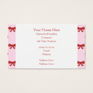 Red Ribbon Bow Pattern on Pink. Business Card