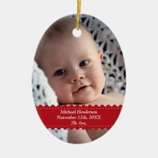 Red ribbon custom photo baby child birth statistic ceramic oval ornament
