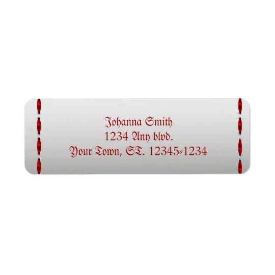Red Ribbon Gothic Wedding Return Address Label