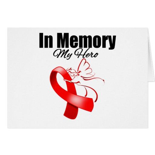 Red Ribbon In Memory of My Hero Greeting Card