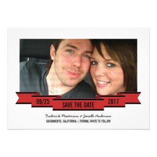 Red Ribbon Photo Save the Date Invite