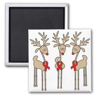 Red Ribbon Reindeer - AIDS & HIV Square Magnet