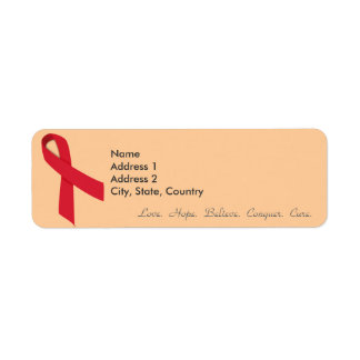 Red Ribbon Return Address Labels for Stroke, AIDS