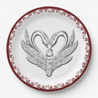 Red Ribbon Silver Swans Paper Plate