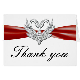 Red Ribbon Silver Swans Thank You Card
