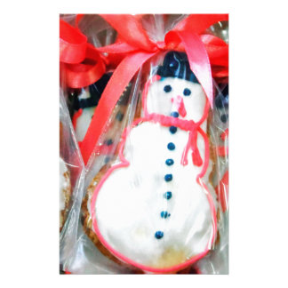 Red Ribbon Snowman Stationery