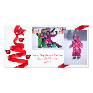 Red Ribbon Tree with Photos - Christmas Photo Card