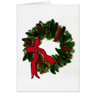Red Ribbon Wreath Card