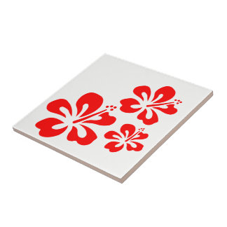 Red Ribiscus Hawaii Theme Ceramic Tile