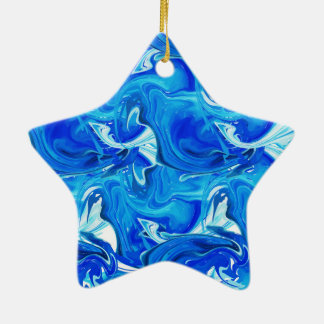 Red rich marbled texture, deep ocean waves ceramic ornament
