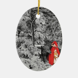 Red Riding Hood and the Wolf (BW) Ceramic Ornament