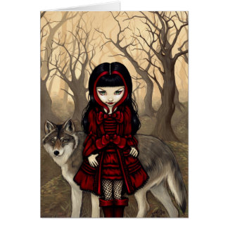 """Red Riding Hood in Autumn"" Greeting Card"