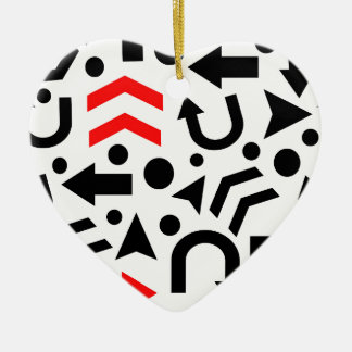 Red right direction ceramic heart ornament