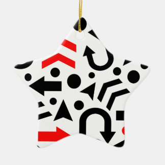 Red right direction ceramic star ornament