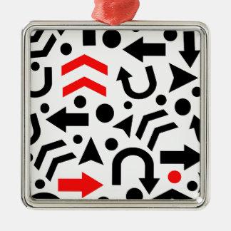 Red right direction Silver-Colored square ornament