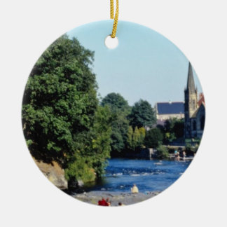 Red River Dee, Llangollen, North Wales flowers Round Ceramic Ornament