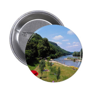 Red River Dordogne with cafe, France flowers 2 Inch Round Button