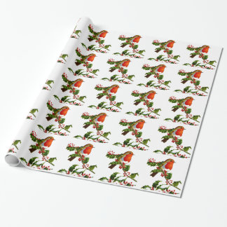 Red Robin and Holly berries wrapping paper