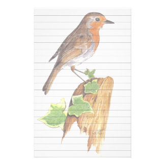 Red Robin art, lined. Personalized Stationery