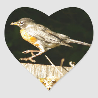 Red Robin Bobbin Heart Sticker
