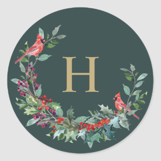 Red Robin Holiday Wreath Monogram Stickers