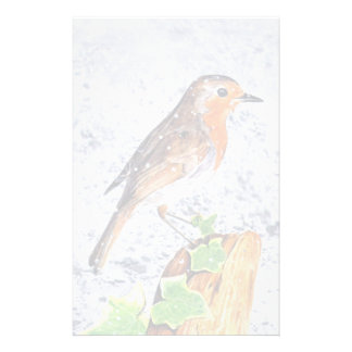 Red robin in the snow art stationery