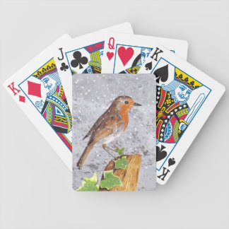 Red Robin in the snow Bicycle Playing Cards
