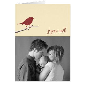 Red robin Joyeux Noël Christmas photo modern Greeting Card