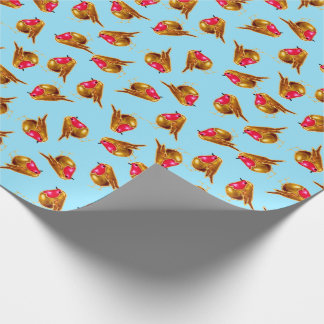 Red robins Christmas multi on blue Wrapping Paper