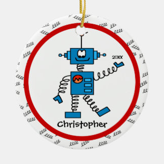 Red Robot Personalized Boy Christmas Ornament