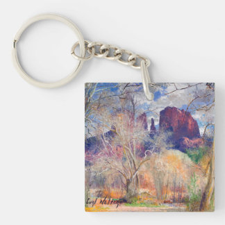 Red Rock Crossing Double-Sided Square Acrylic Keychain