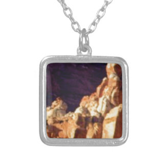 red rock formations in stone silver plated necklace