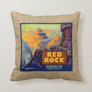 Red Rock Fruit Crate Label on Faux Burlap Throw Pillow