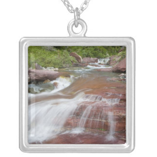 Red rock in Baring Creek in Glacier National Silver Plated Necklace