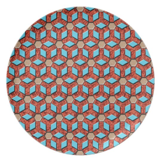Red Rock Tiled Hex Plate