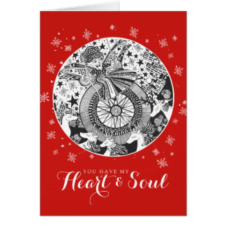 Red Rockabilly Playground Valentine Heart & Soul Card