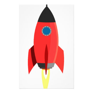 Red Rocket Blast Off Custom Stationery