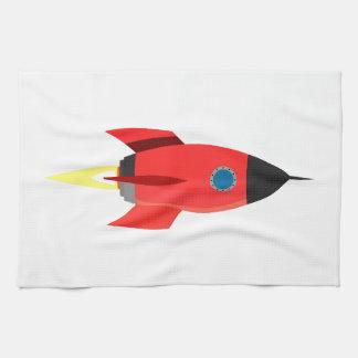 Red Rocket Blast Off Kitchen Towel