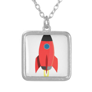 Red Rocket Blast Off Silver Plated Necklace