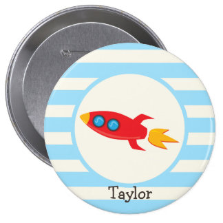 Red Rocket Space Ship; Light Blue Stripes 4 Inch Round Button