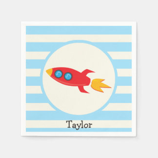 Red Rocket Space Ship; Light Blue Stripes Disposable Napkins
